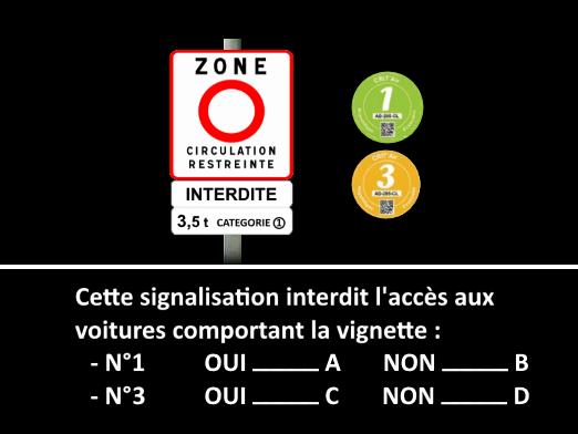 Question tests examen code de la route 2016 exemple 11 (zone circulation restreinte ; vignette écologique)